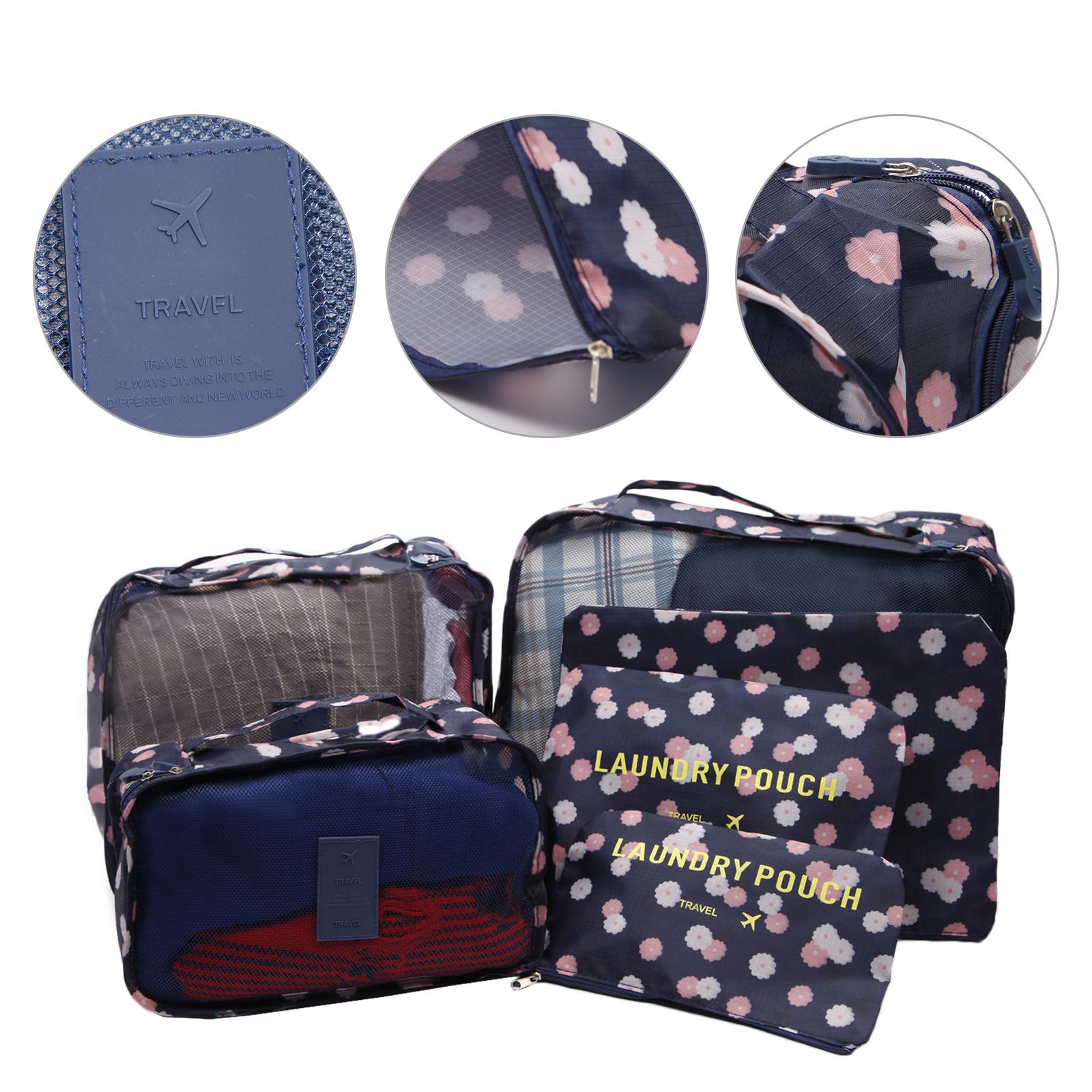 6Pcs Borsa da Viaggio Bagaglio Organizzatore orgniser Biancheria Intima Calze Imballaggio Cube storage