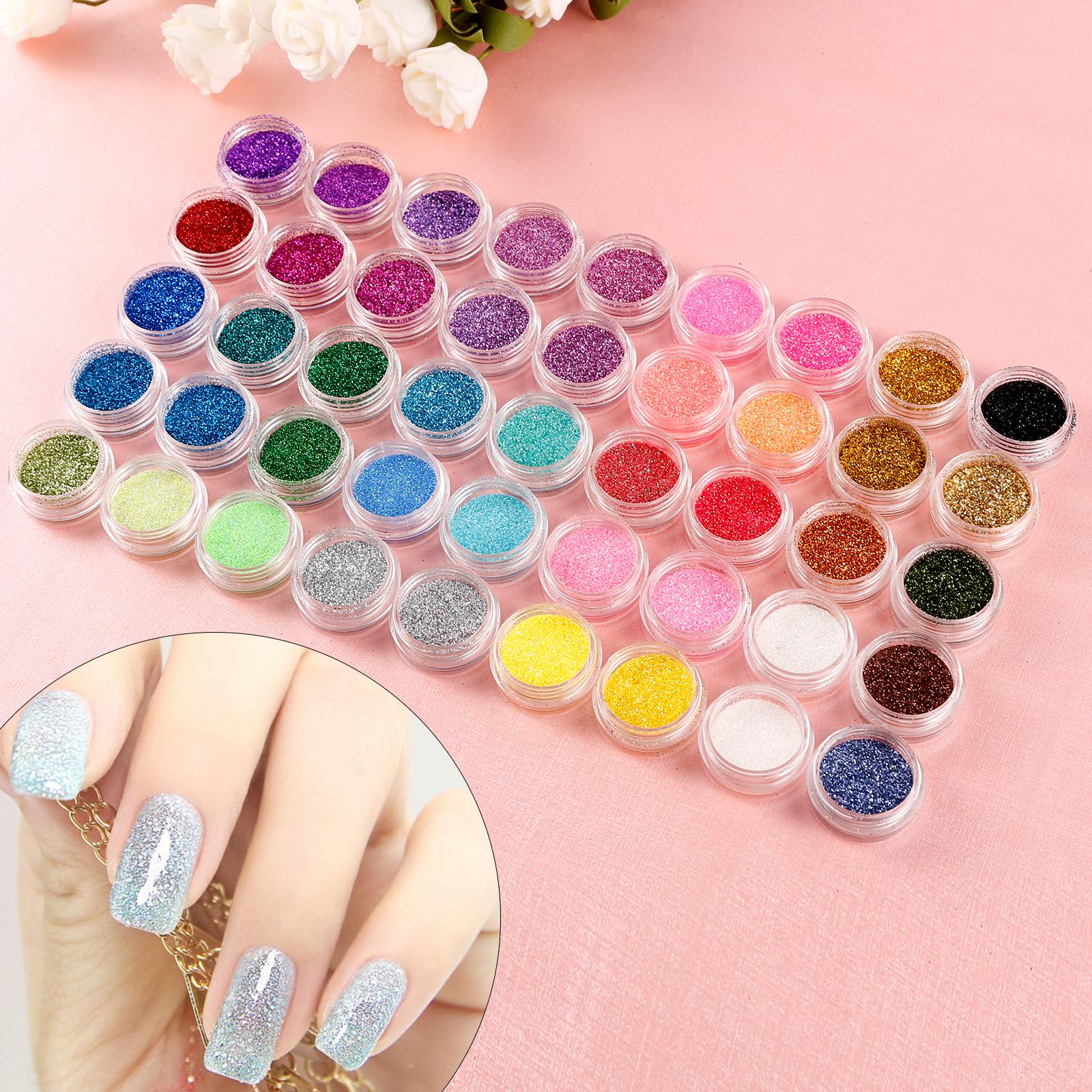 Pack of 45 Color Nail Art Makeup Decoration Glitter Dust Powder DIY ...