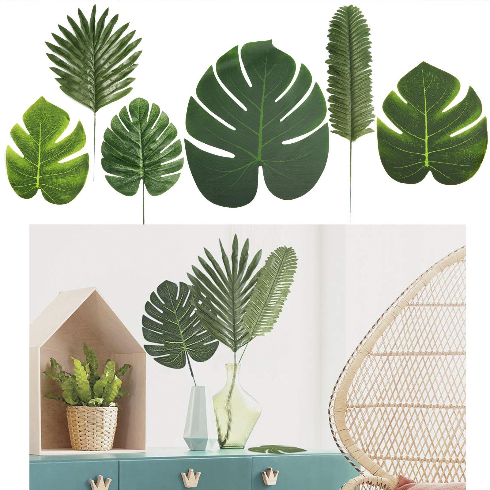 60 PCS 6 Kinds Tropical Hawaiian Artificial Palm Leaves Foliage Party Decor