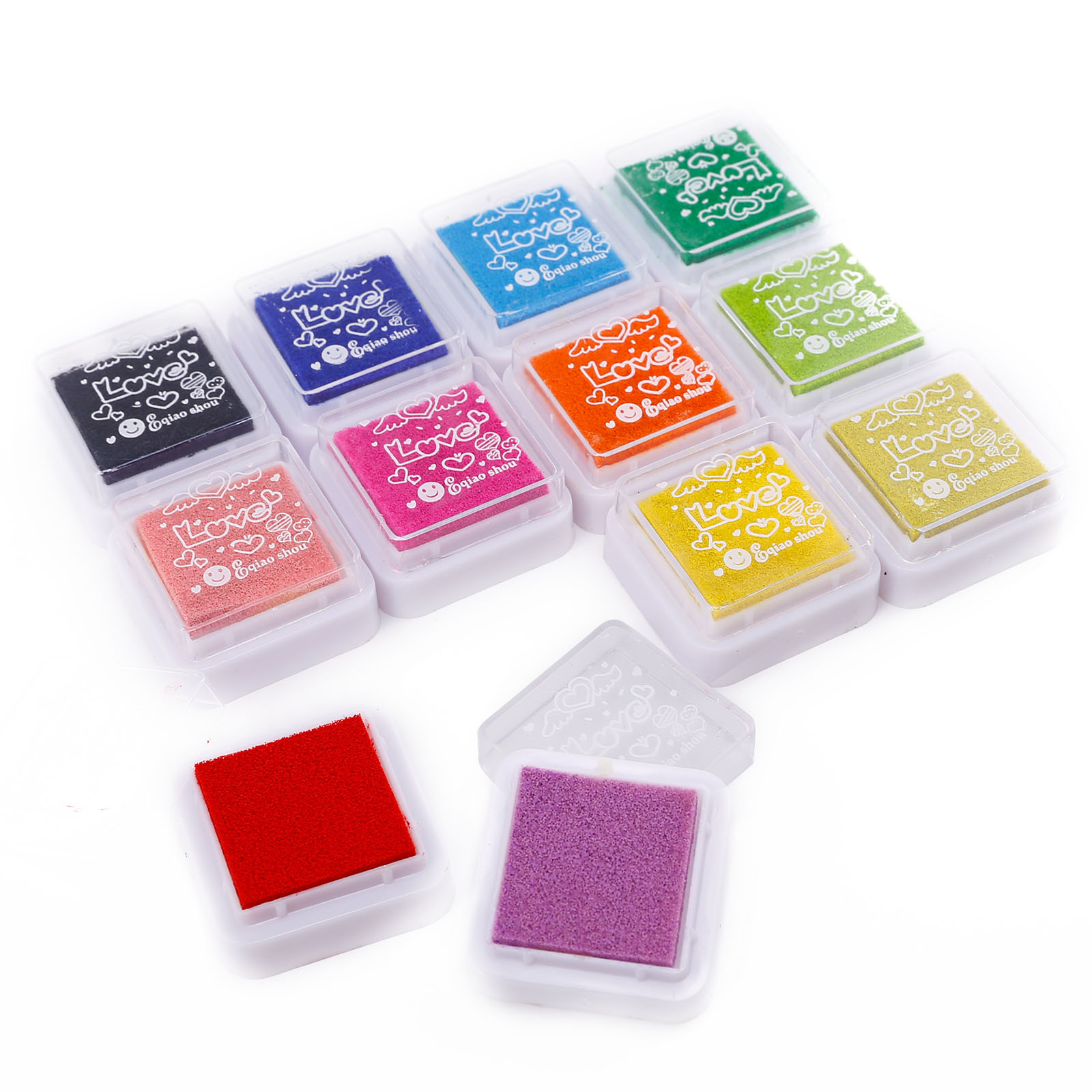 12 24 Colors Ink Pads Washable Fingerprint Stamp Inkpad DIY Scrapbooking