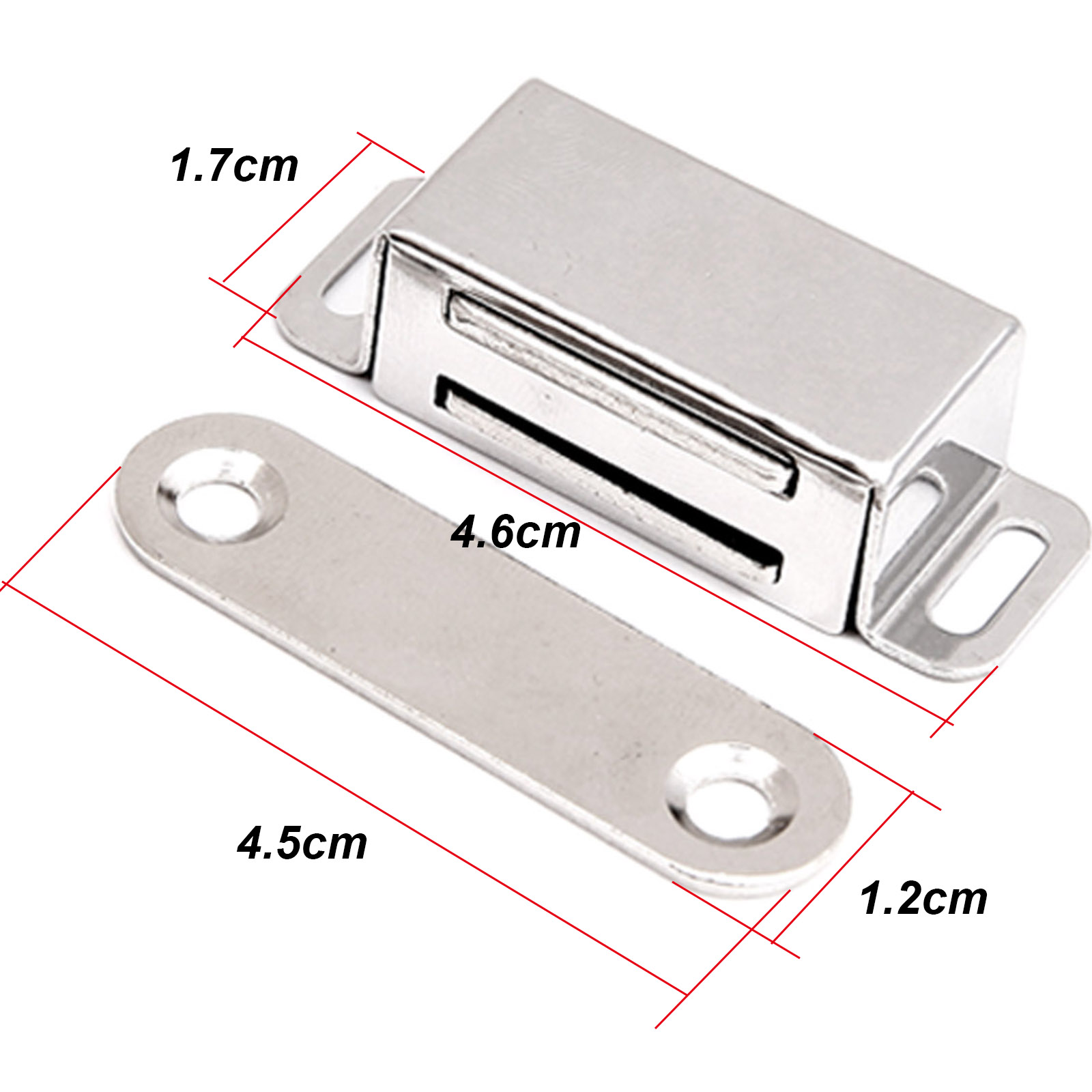 Heavy Duty Nickel Plated Magnetic Steel Catch with 6kg Pull Rating Screws