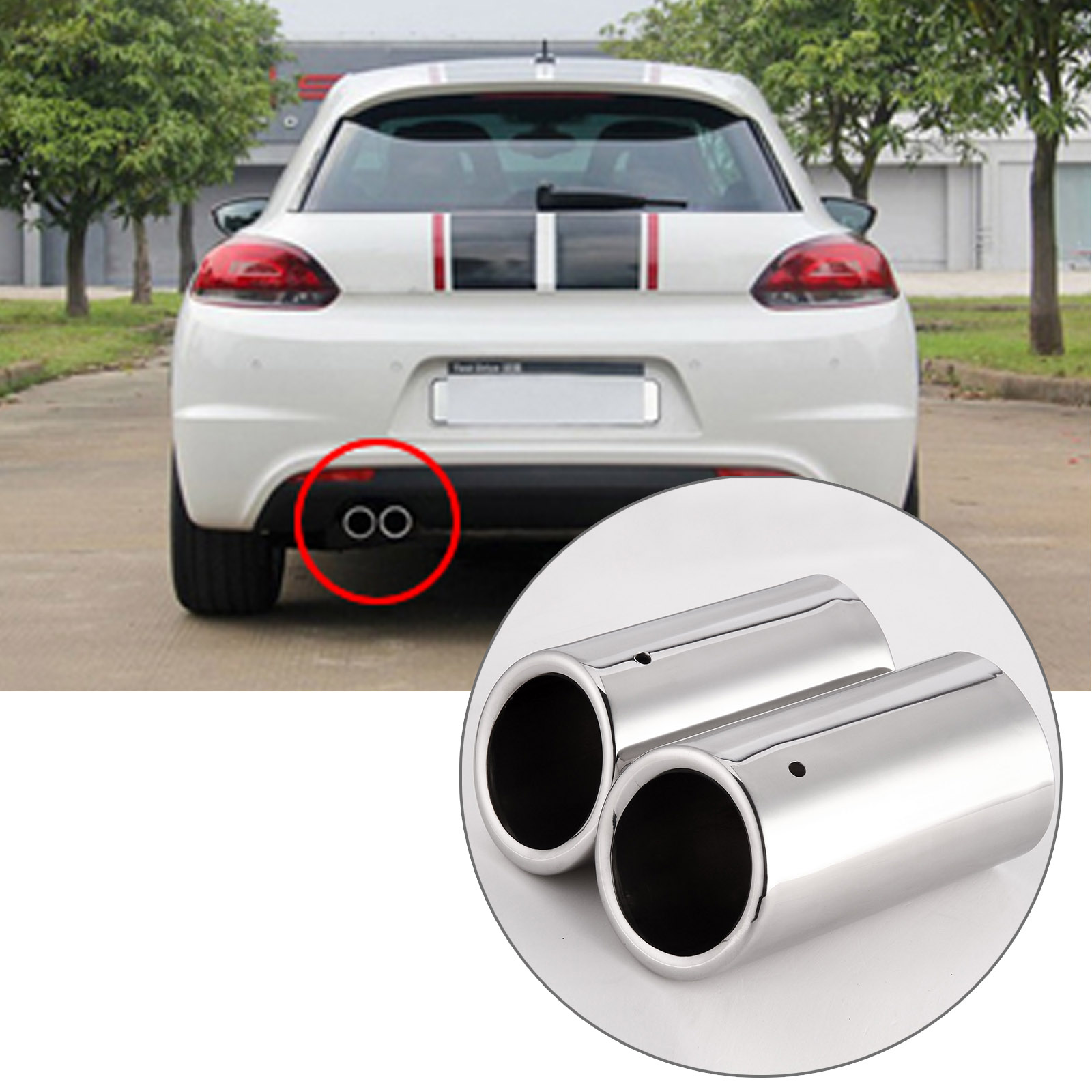 stainless steel exhaust tips pipe tail for vw golf mk6 mk7. Black Bedroom Furniture Sets. Home Design Ideas