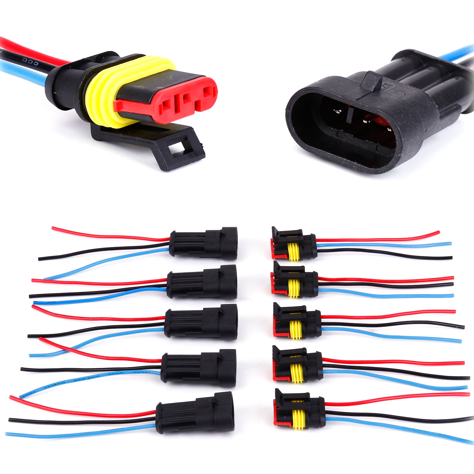 5x 3 Pin Way Waterproof Electrical Connector Plug With Wire Car Motorcycle Wiring Connectors Uk