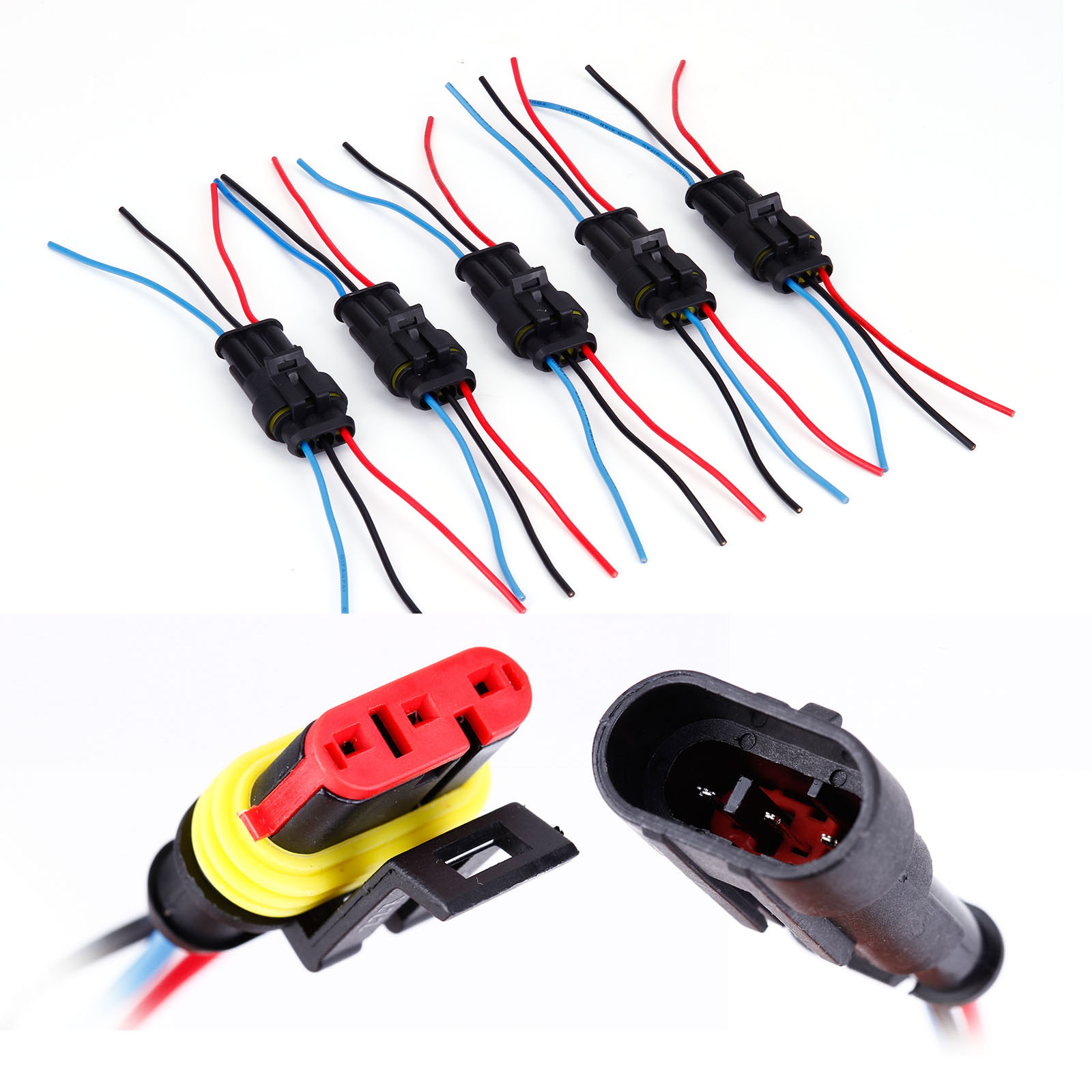 5x 3 Pin Way Waterproof Electrical Connector Plug With Wire Car Motorcycle Wiring Connectors Uk Suitable For Cars Motorbikes Trucks Caravans Boats And Other Marine Vahicles Sealed