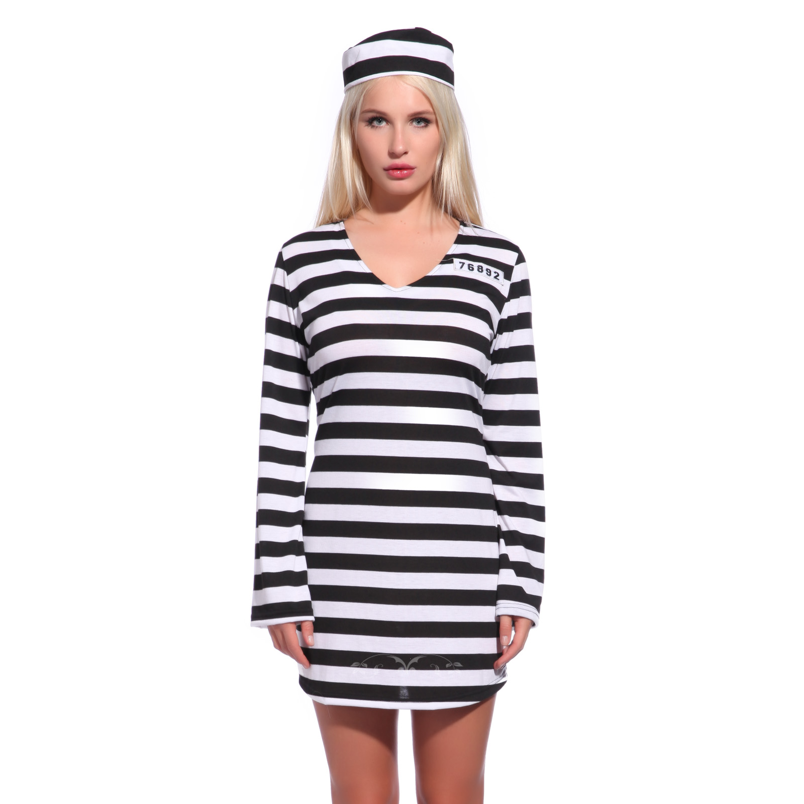 Prisoner fancy dress costume halloween convict jail adult outfit convicts were dressed in black and white striped suits to make escape more difficult as it is difficult for an escaped inmate to avoid recognition and solutioingenieria Gallery