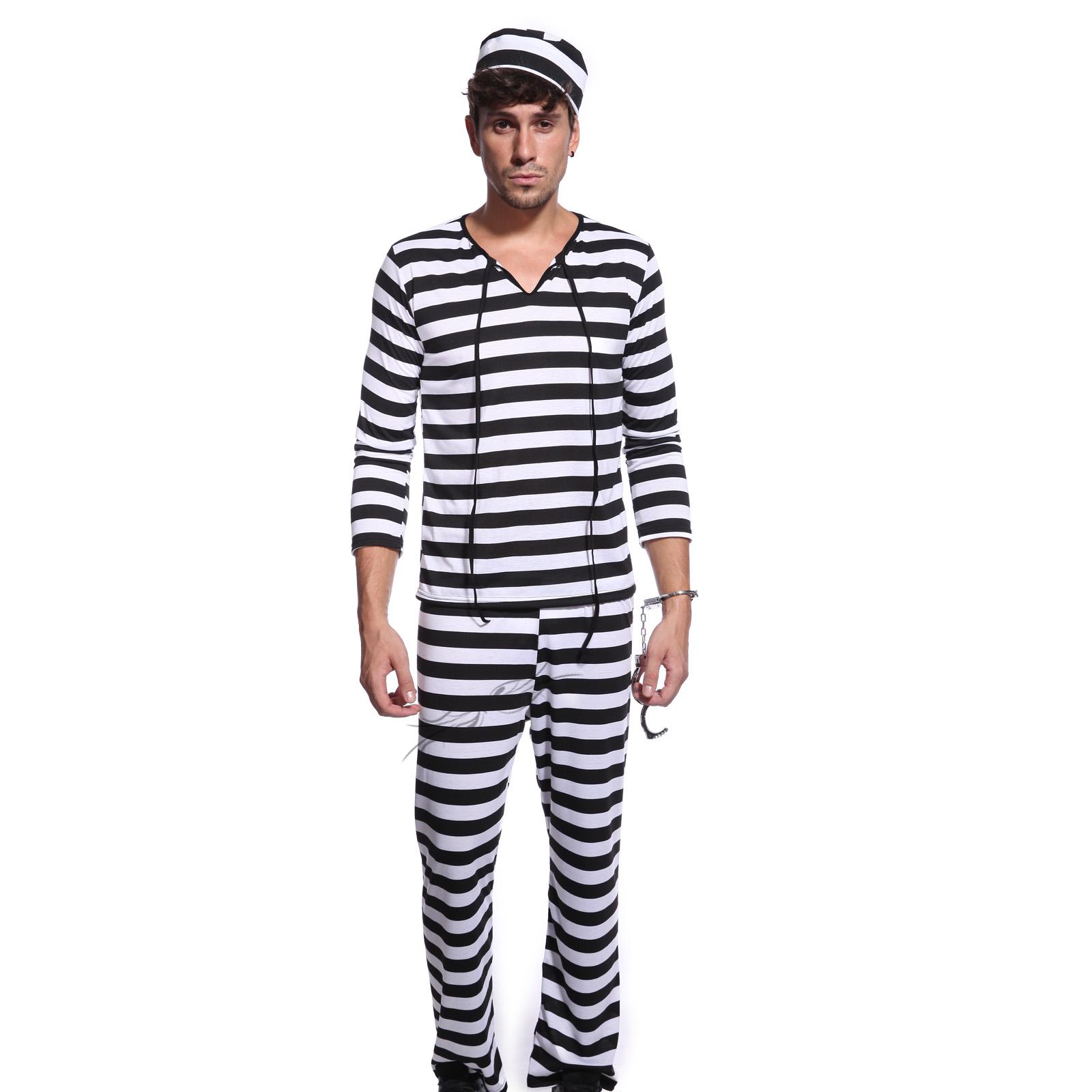 Prisoner Fancy Dress Costume Halloween Convict Jail Adult Outfit