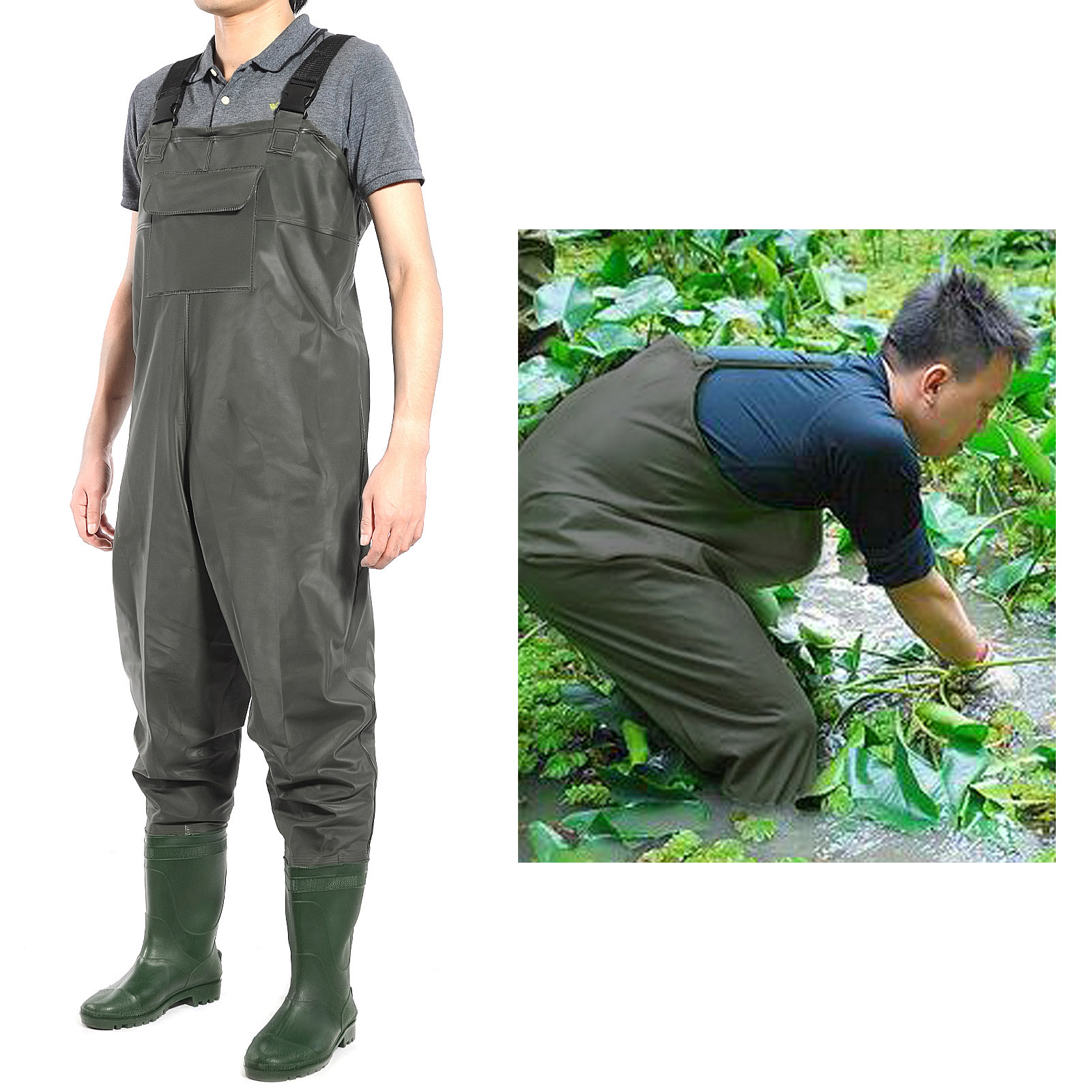 Breathable pvc chest waders 100 waterproof fly coarse for Chest waders for fishing