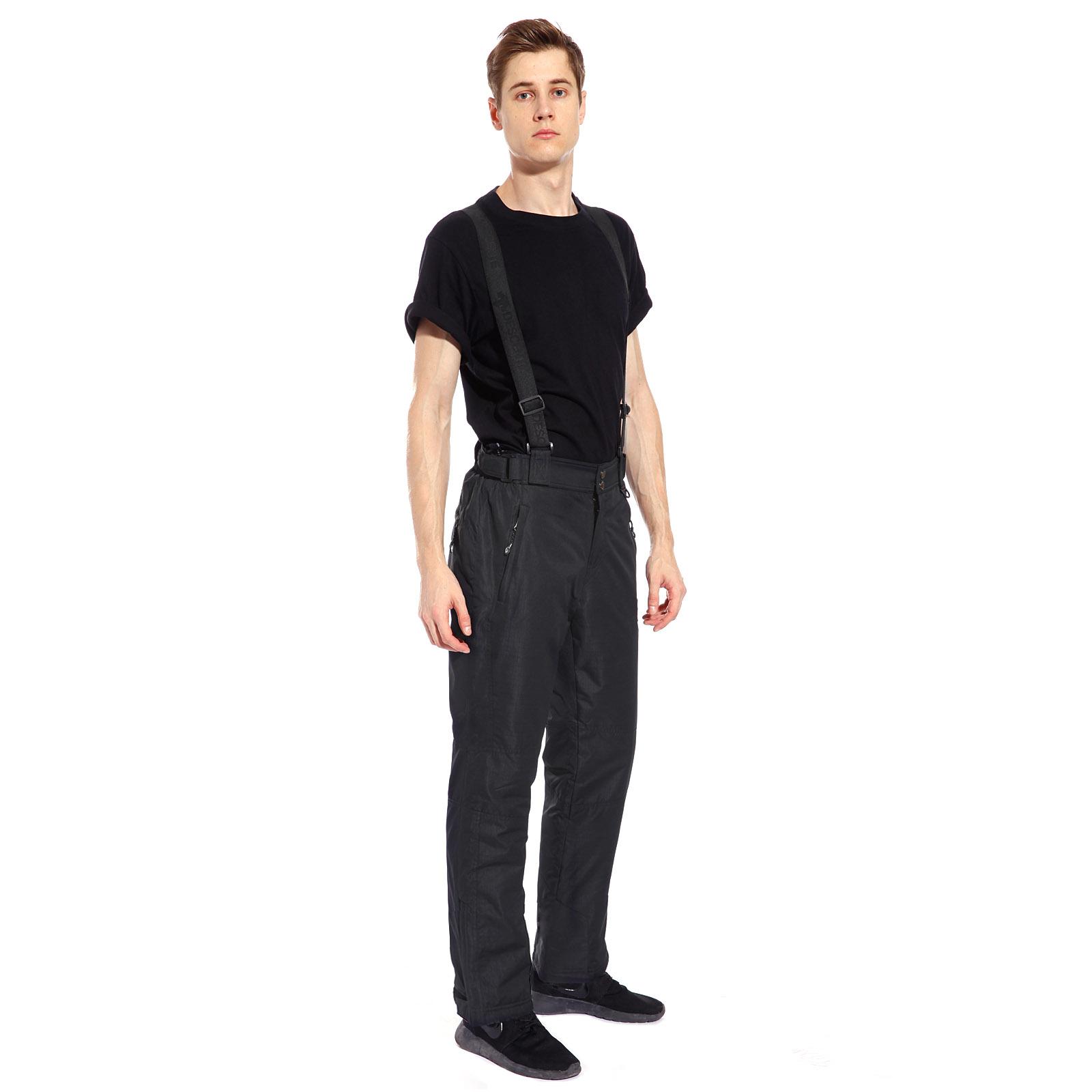 fe672791a Black Mens Ski Pants Waterproof Trousers Detachable Braces Multiple ...
