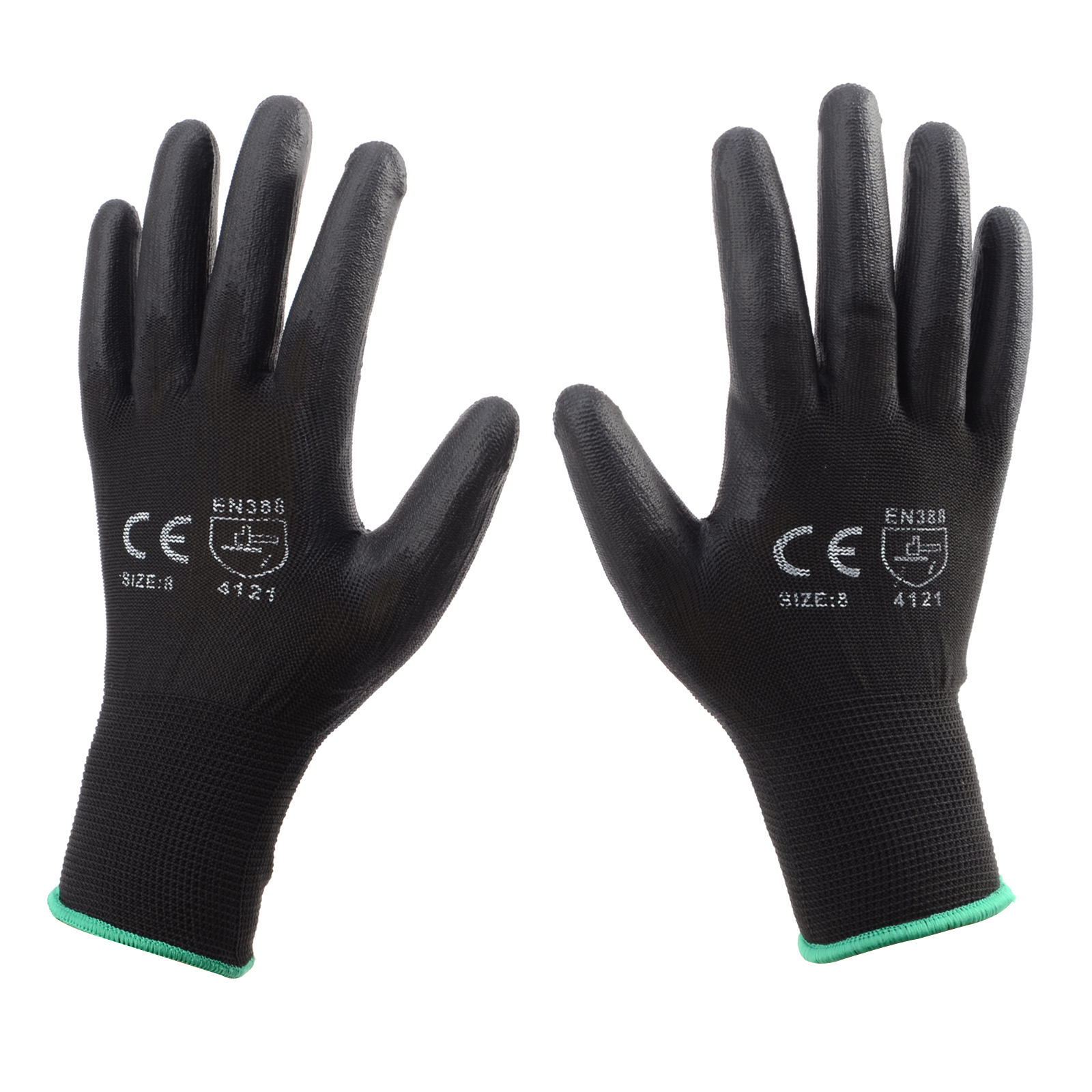 12 or 24 PAIRS BLACK NYLON PU COATED SAFETY WORK GLOVES GARDEN GRIP  BUILDERS  d166c010c68b