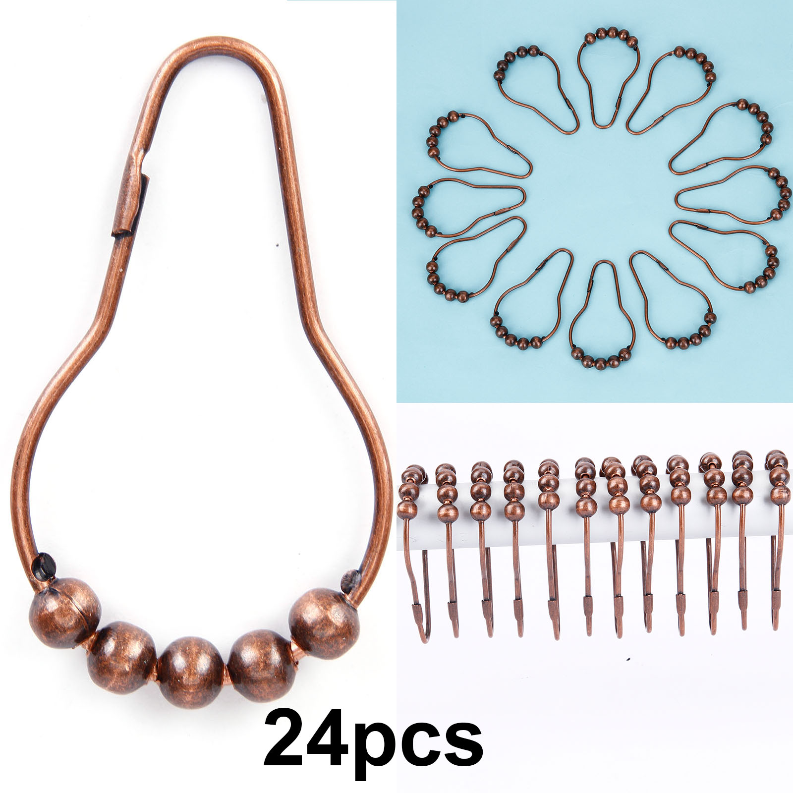 Details About 24x Fashion Shower Curtain Rings Rail Pole Rod Ball Bead Hook Bath Bronze