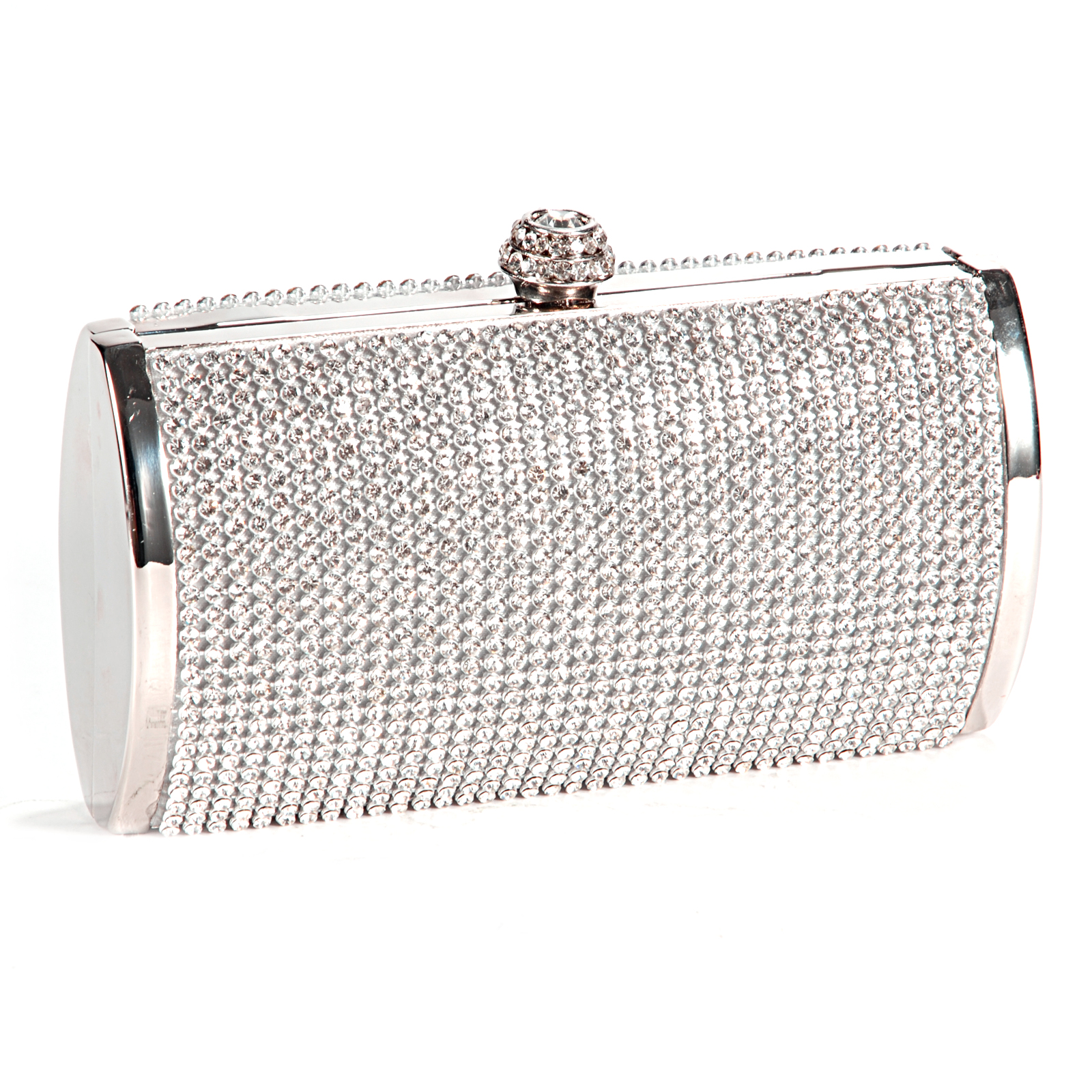 f677ebb78437 Details about Silver Crystal Diamante Evening Clutch Wedding Purse Party  Prom Bag BOX